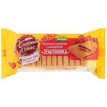 Печенье Хлебный Cпас сдобное с начинкой Земляника 200г - купить, цены на Makro - фото 1