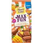 Sutli shokolad Alpen Gold Max Fun mango+ananas+marakuya+portlovchi karamel 160gr