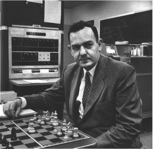 Herbert Simon, artificial intelligence pioneer, working on computer chess