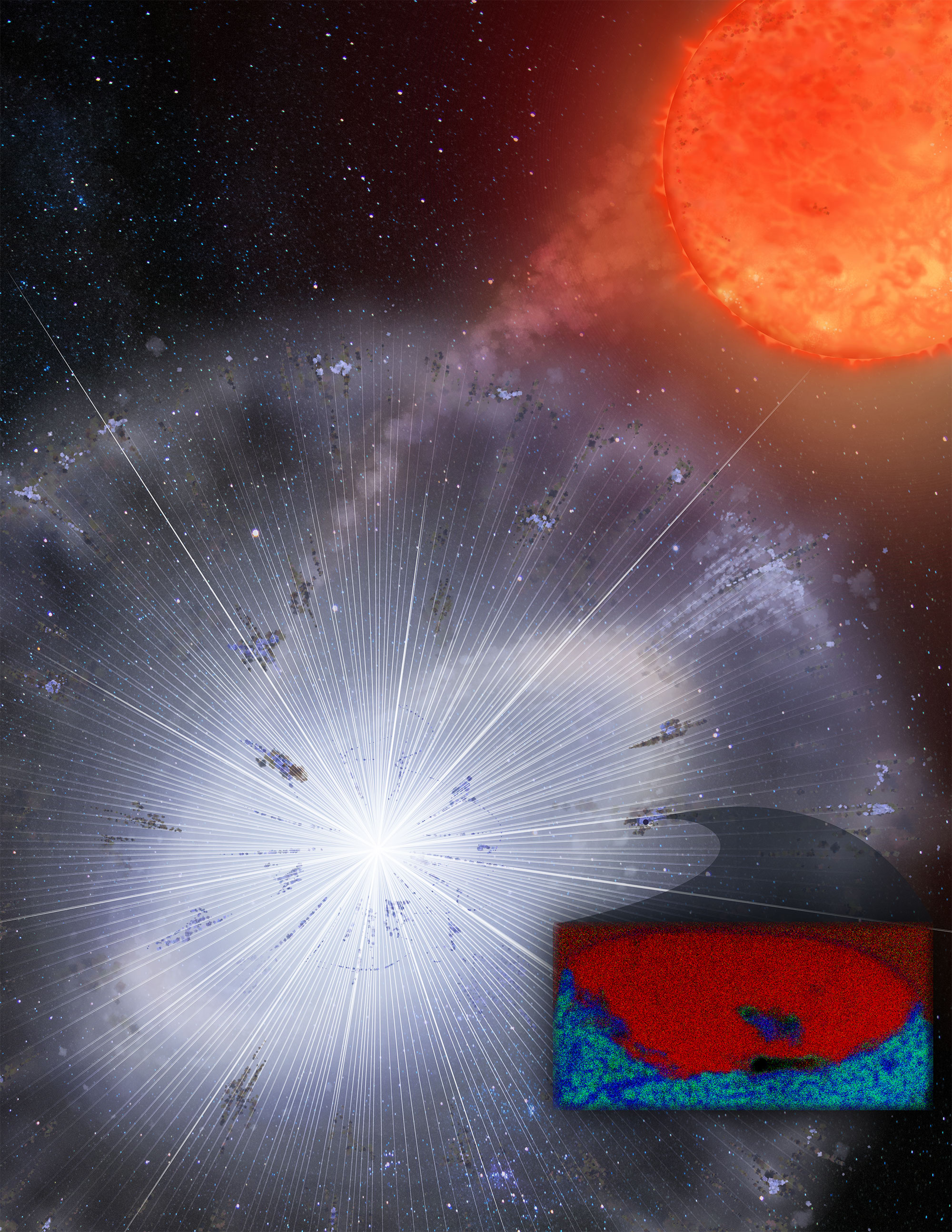 Illustration of dust clumps in a nova