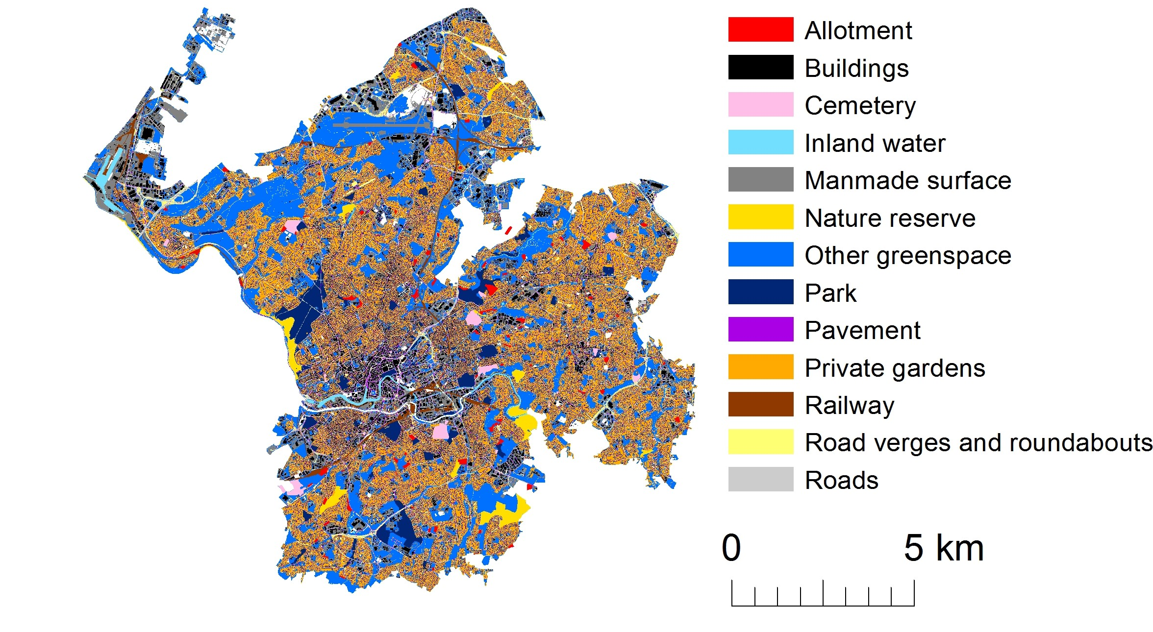 Land use map for Bristol