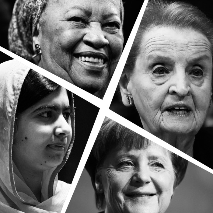 Clockwise from top: Toni Morrison, Madeleine Albright, Angela Merkel & Malala Yousafzai