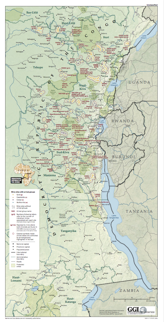 Presence at mine sites of armed groups and other entities in the Democratic Republic of the Congo.