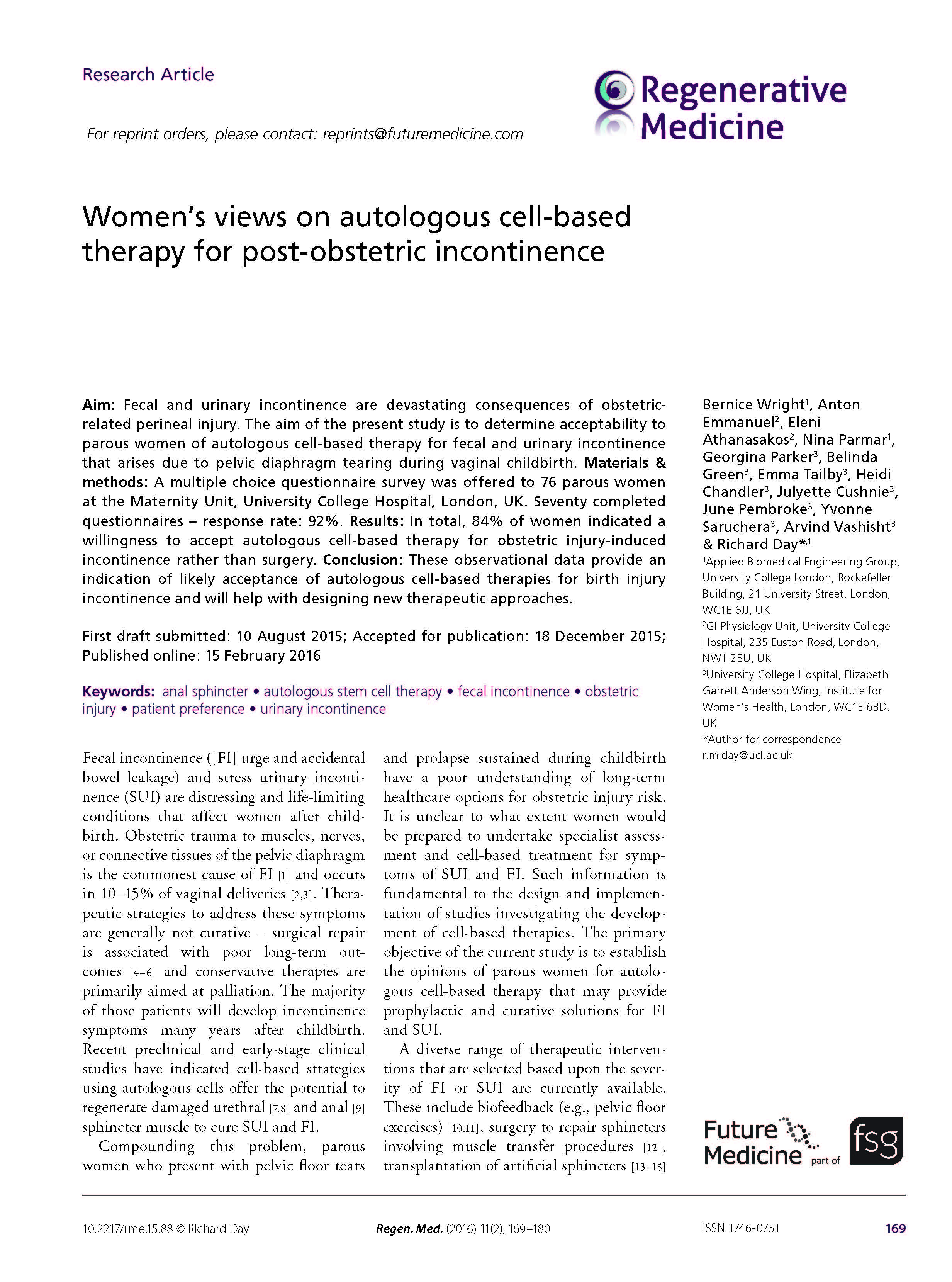 Women's views on autologous cell-based therapy for post-obstetric incontinence