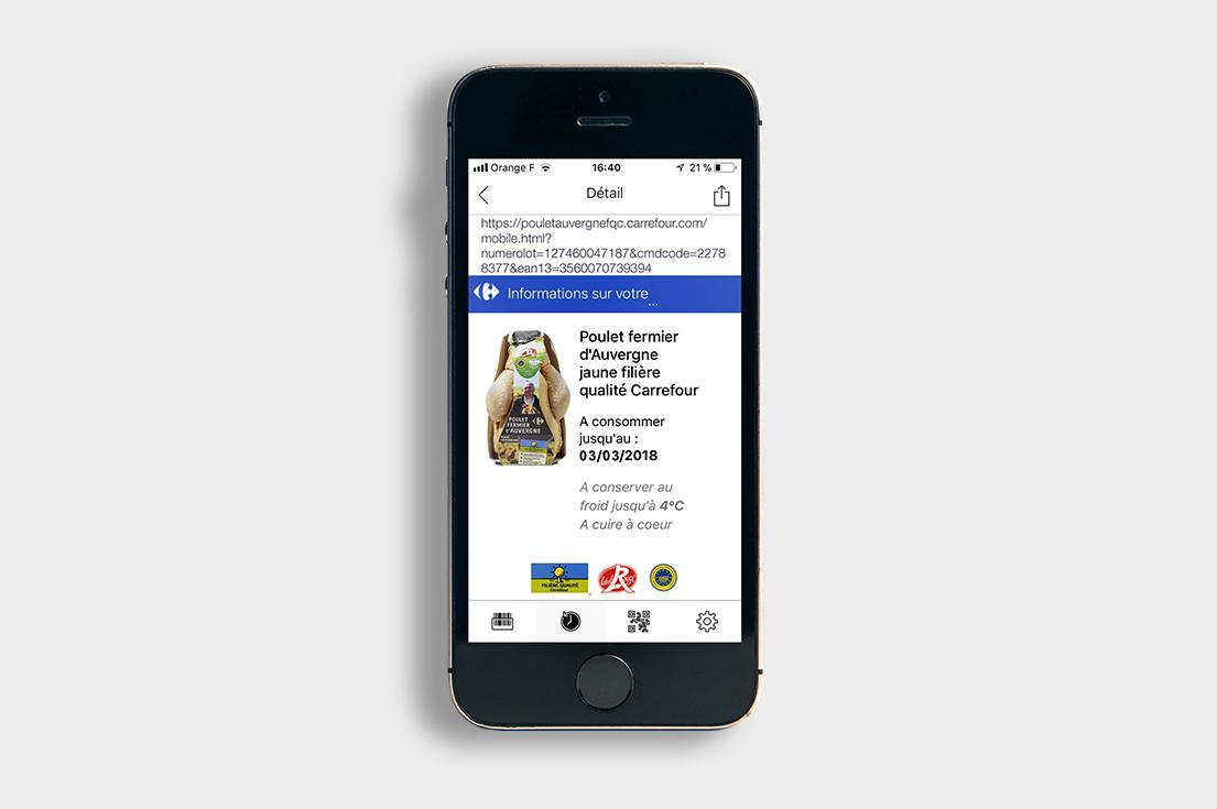 L'application qui permet de lire le QR Code appliqué sur le poulet Carrefour