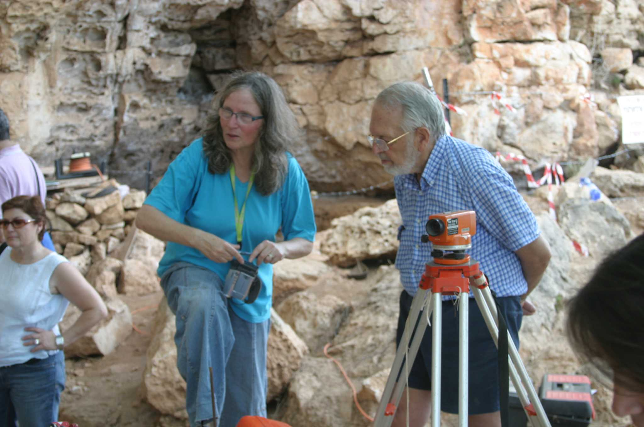 Prof. Mina Weinstein-Evron and Dan David at the cave