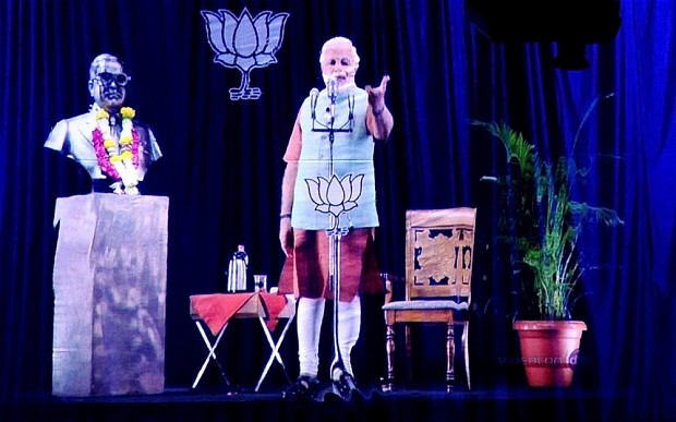 Narendra Modi uses hologram technology to address a crowd