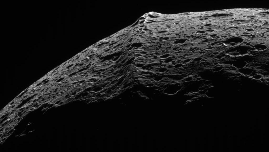 The equatorial ridge of Iapetus, a moon of Saturn.