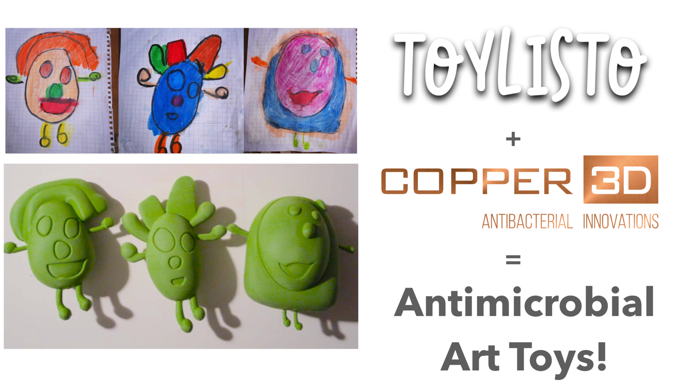 Toylisto and Copper3D combine to make 'Antimicrobial Art Toys'