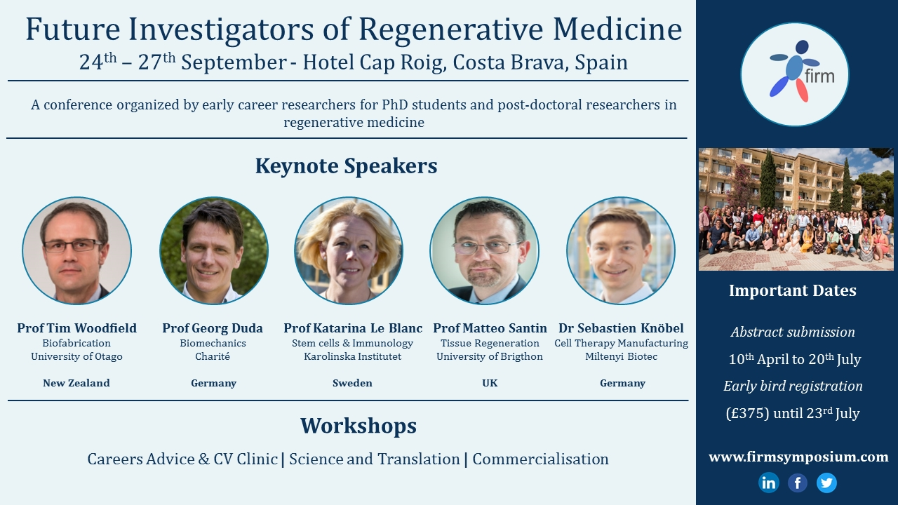 Registration and abstract submission extended for FIRM 2018 | RegMedNet