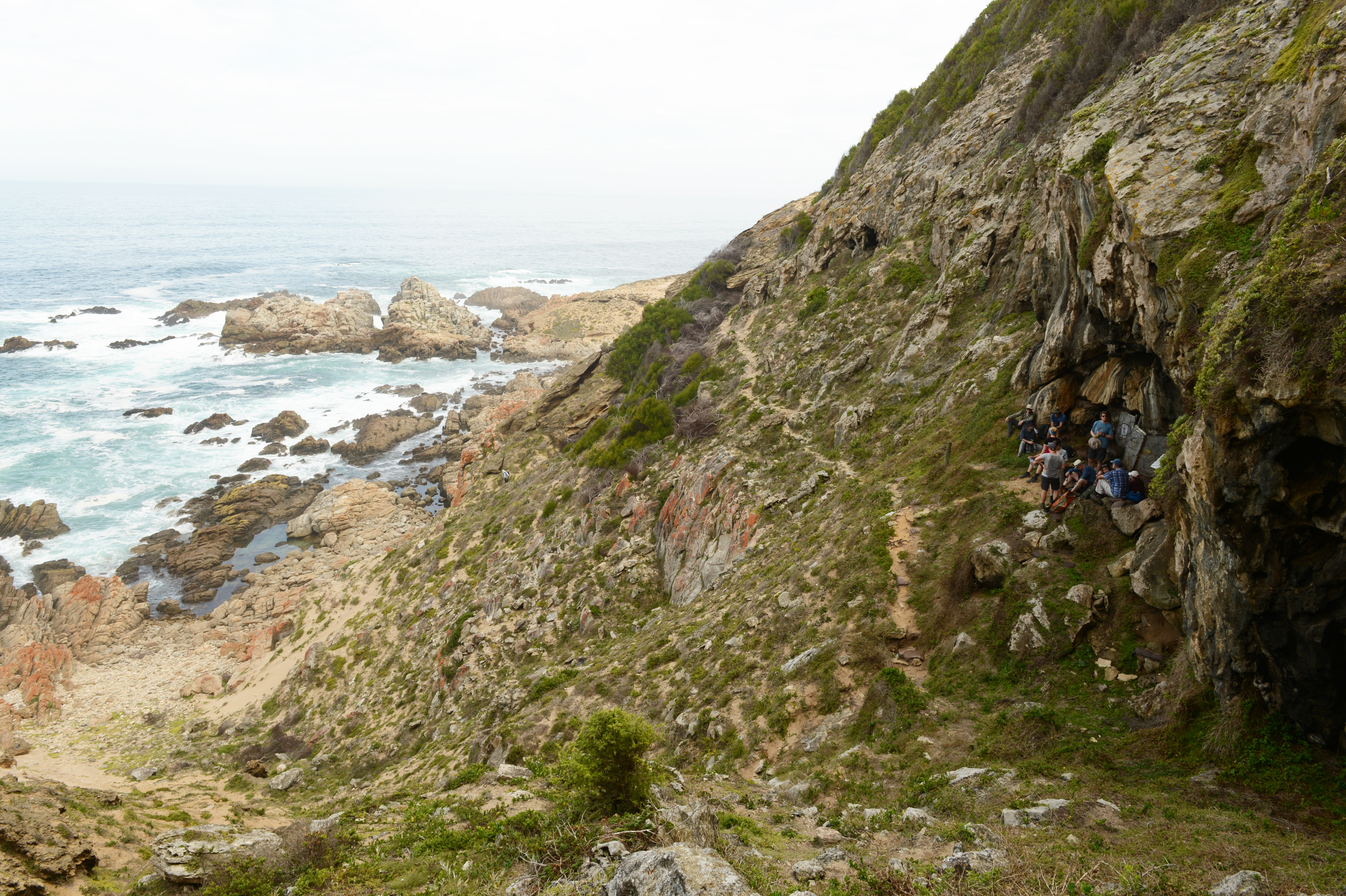 View of Blombos Cave during a visit by the SapienCE team in 2018 (Image courtesy of Ole Fredrik Unhammer)
