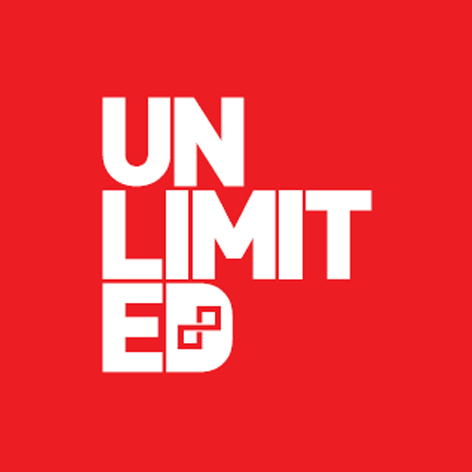 UNLIMITED logo in white font on red background