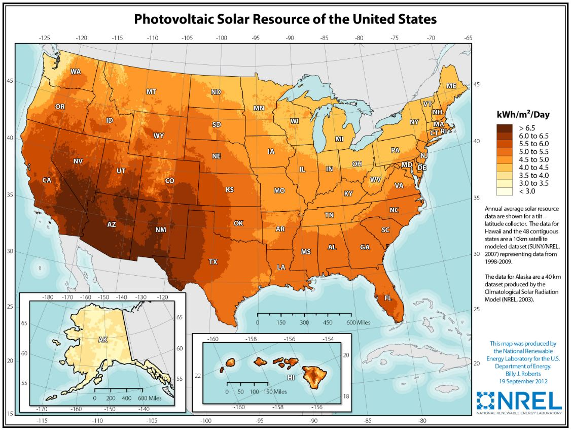 NREL map of U.S. solar irradiance per day