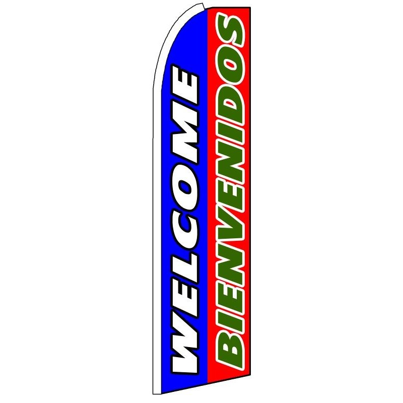 15ft Feather Banner Swooper Flag Kit with pole /& spike Bienvenidos blue