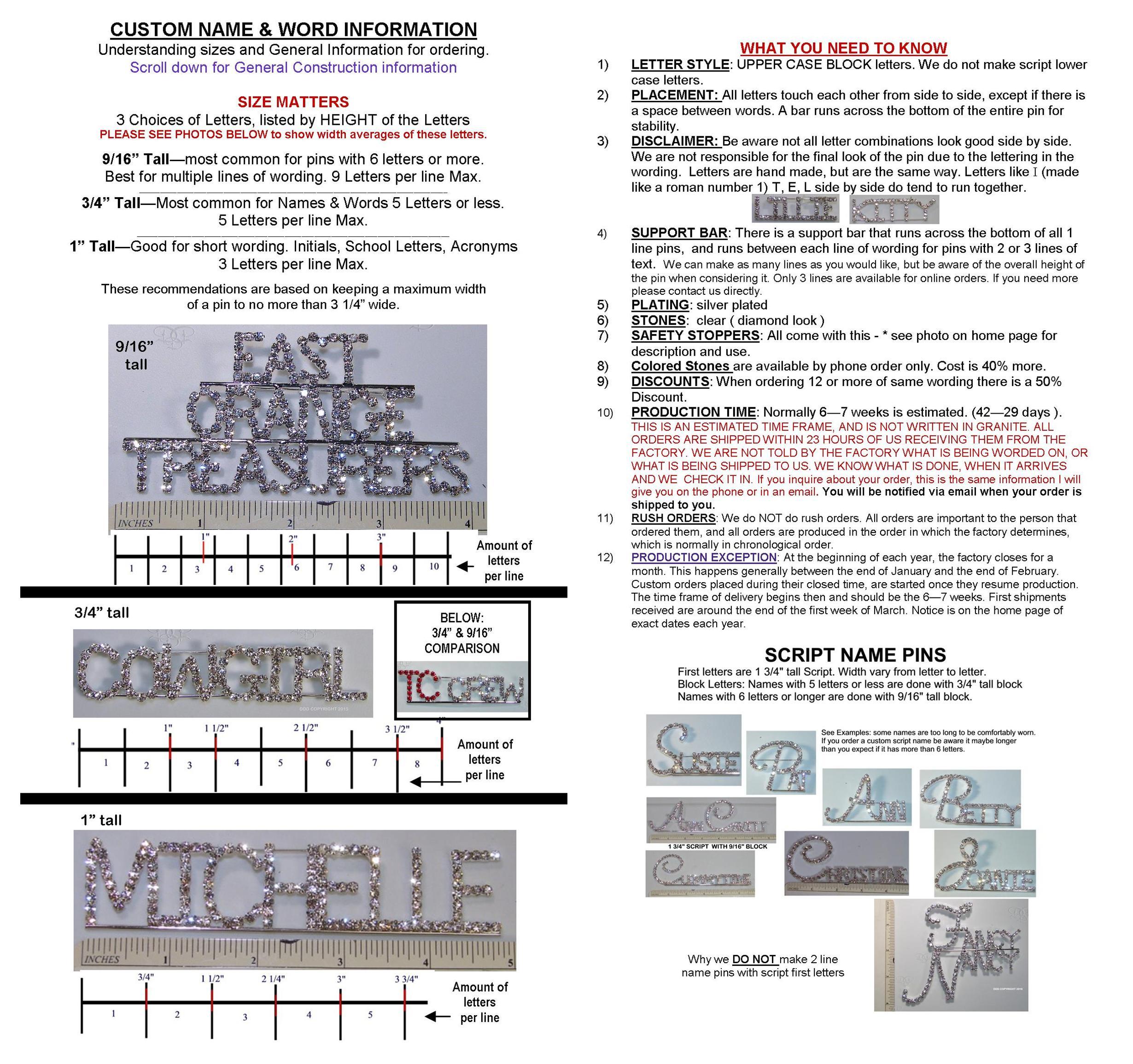 Custom rhinestone word pins description aljukfo Image collections