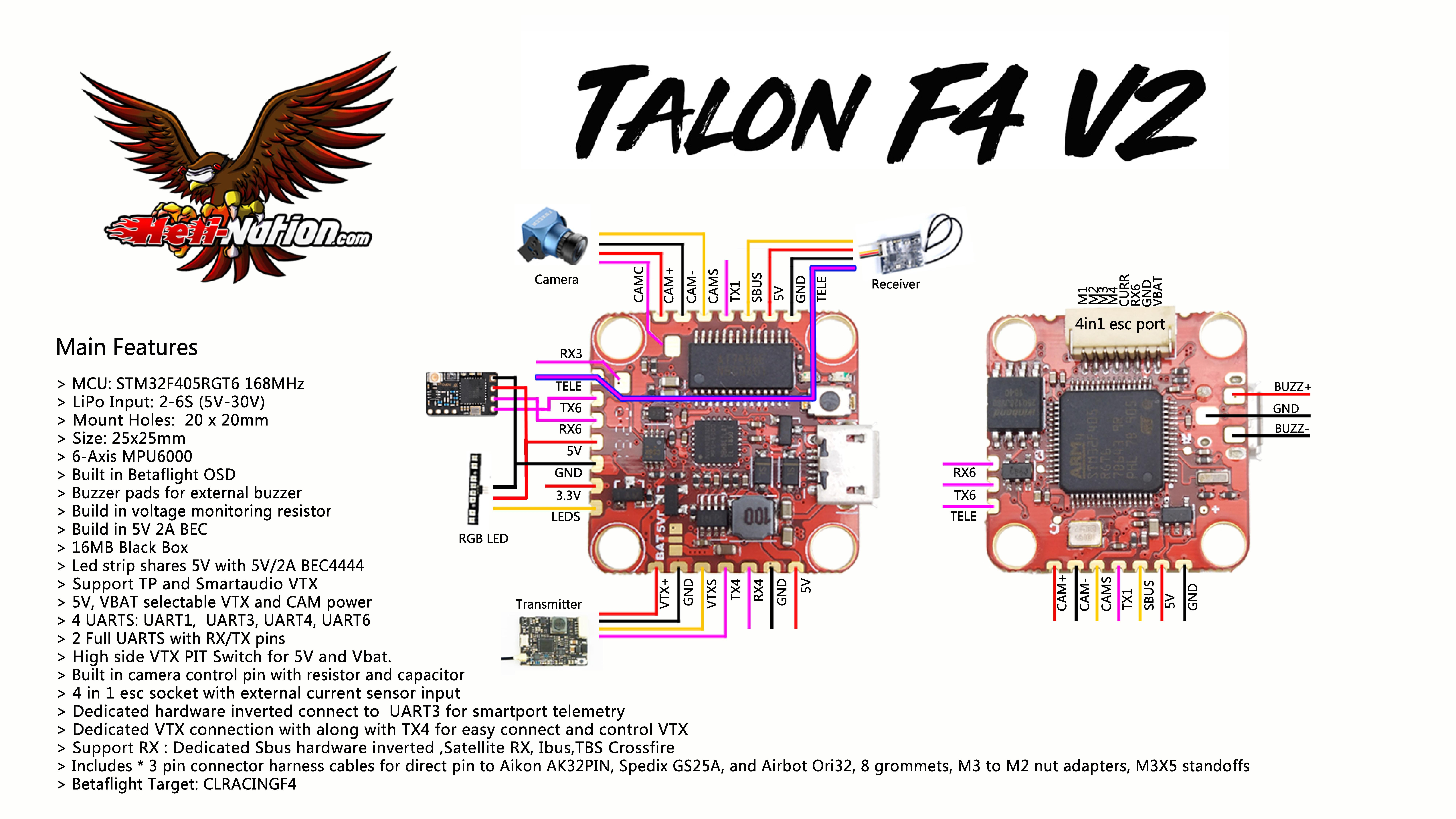 Talon F4 V2 20x20 FC Flight Controller VTX Pit Mode Black Box
