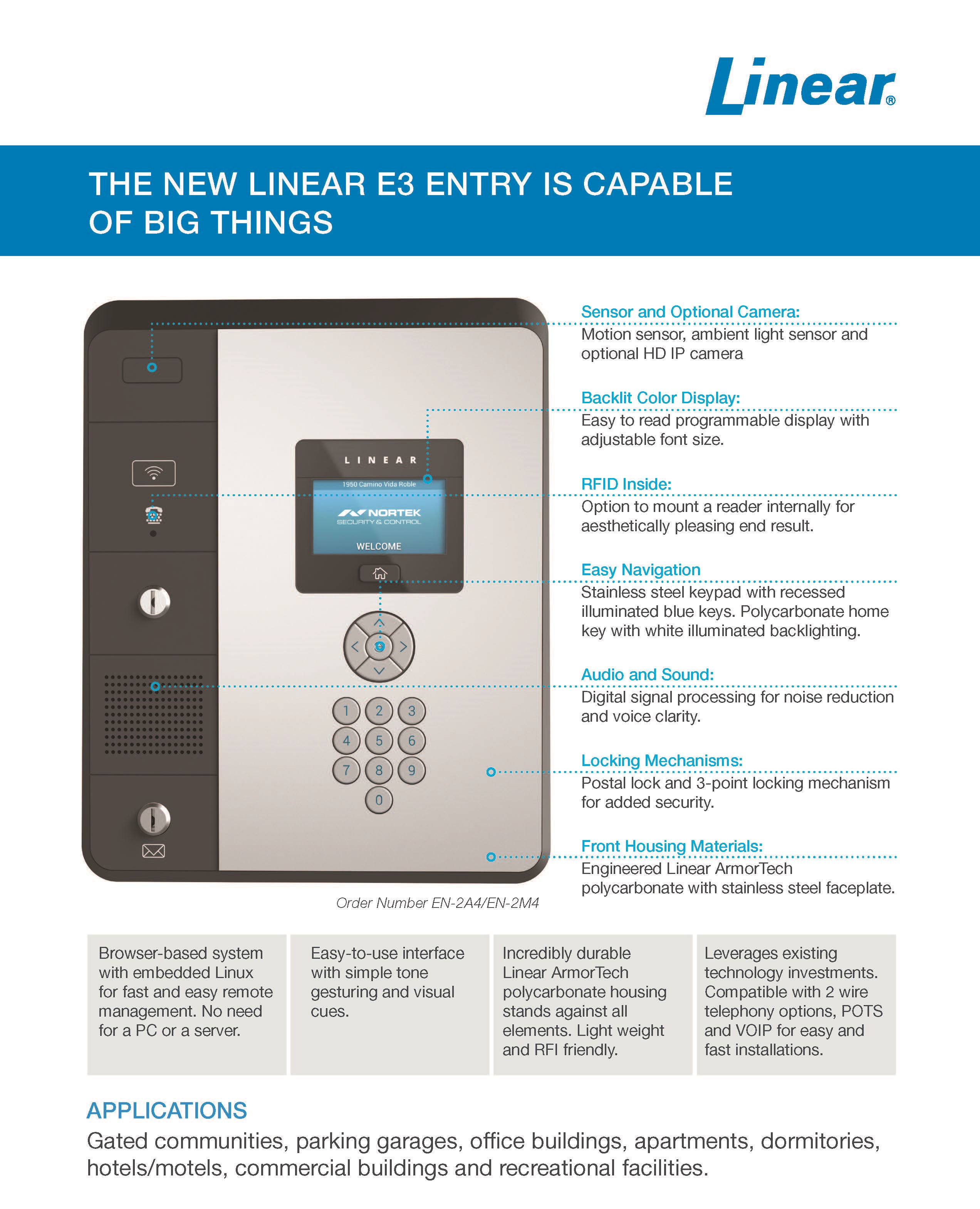Linear EN-2M4 Commercial Telephone Entry System 720-100136
