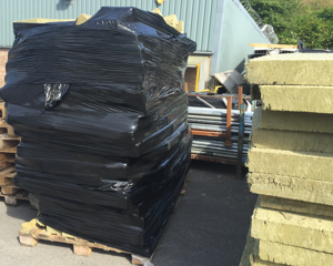 Insulation on pallets and wrapped ready for despatch
