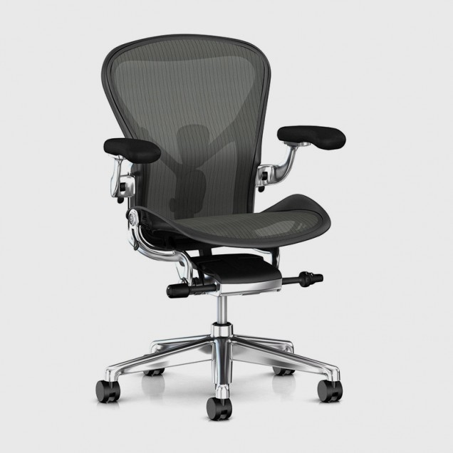 Image of Aeron Chair with Aluminium Frame and Graphite Mesh