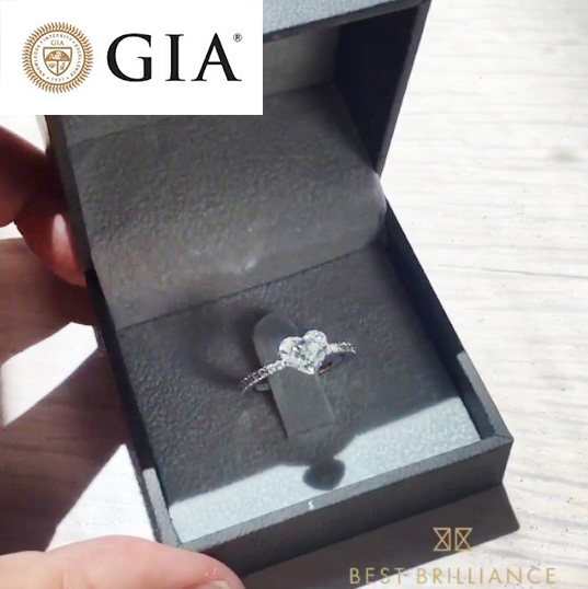 1.18 CARAT F SI1 GIA HEART SHAPED DIAMOND ENGAGEMENT RING - PLATINUM