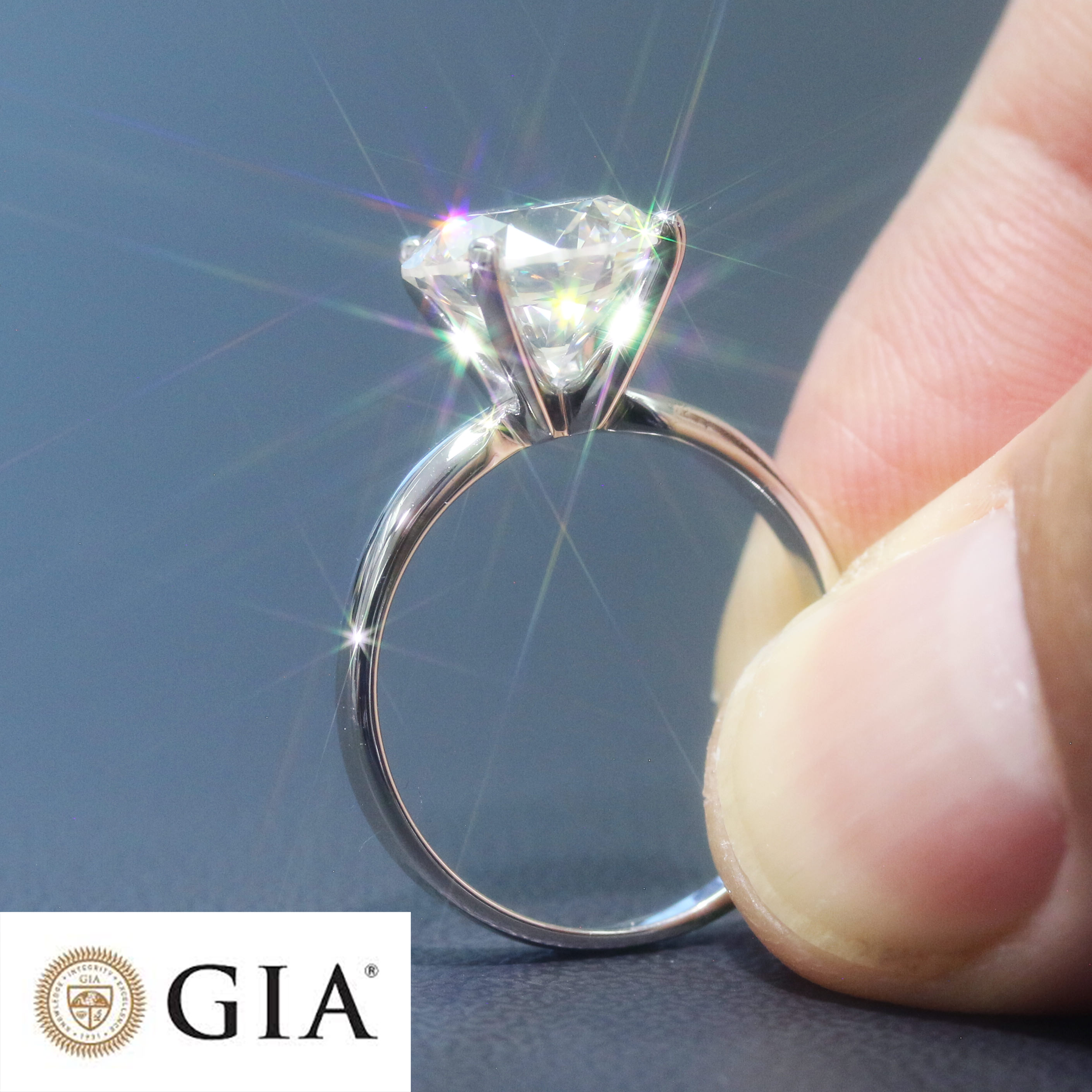 2.54 CARAT GIA CERTIFIED DIAMOND ENGAGEMENT RING - 14K WHITE GOLD