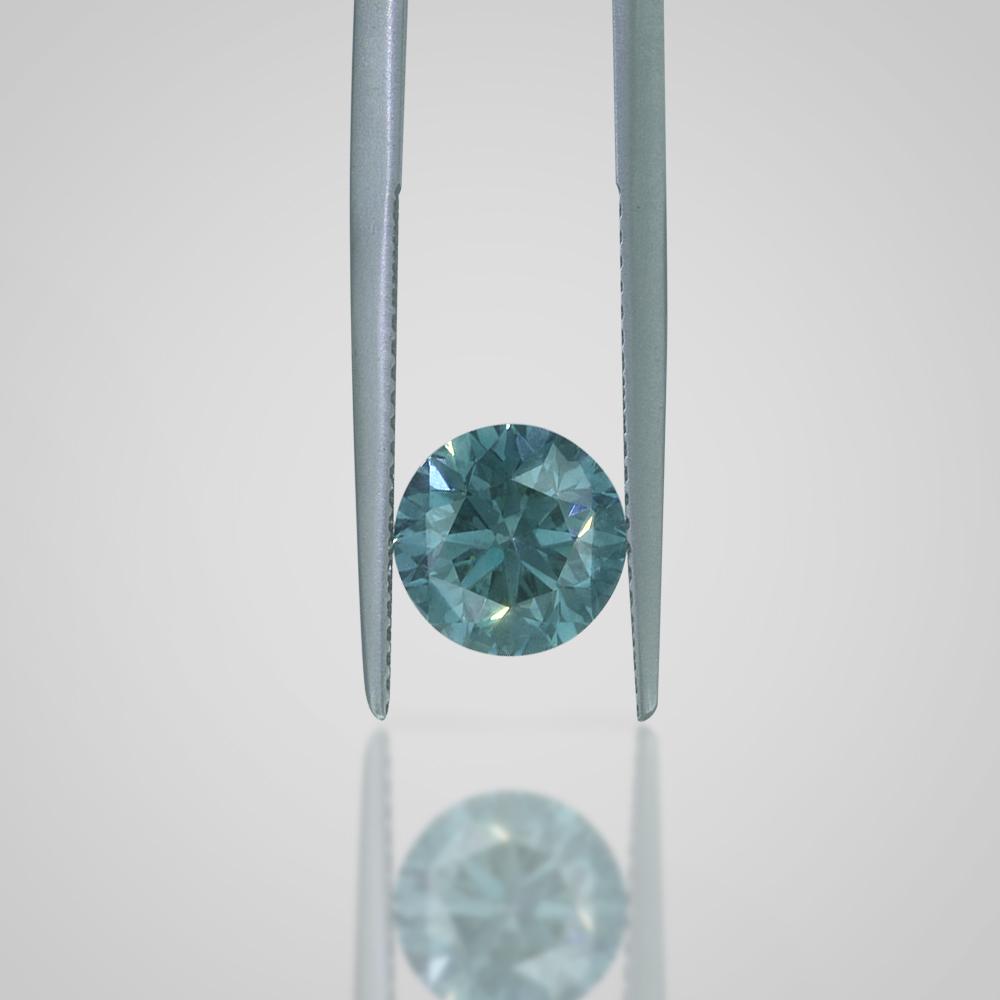 2.19 CT ROUND BRILLIANT LOOSE DIAMOND - FANCY GREENISH BLUE SI1