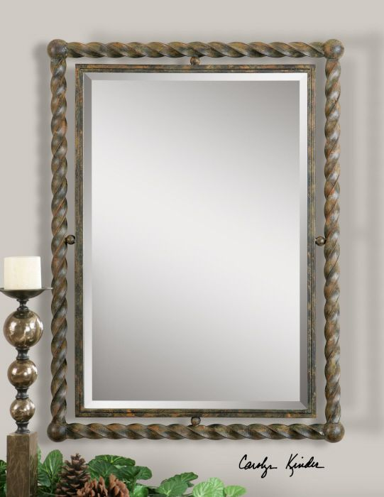Rustic Twisted Wrought Iron Beveled Wall Mirror Tuscan