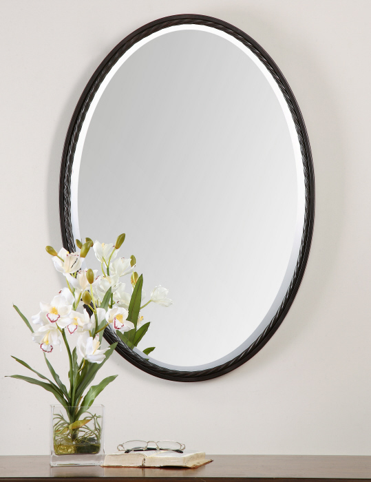 """Twisted Metal Oil Rubbed Bronze Oval Wall Mirror 32"""" 759526402200"""