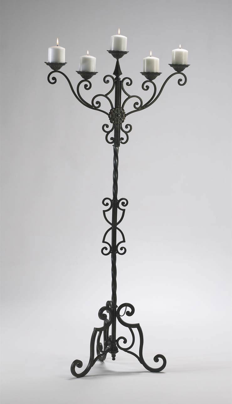 Iron Floor Candelabra Candle Holder Old World Gothic Ebay