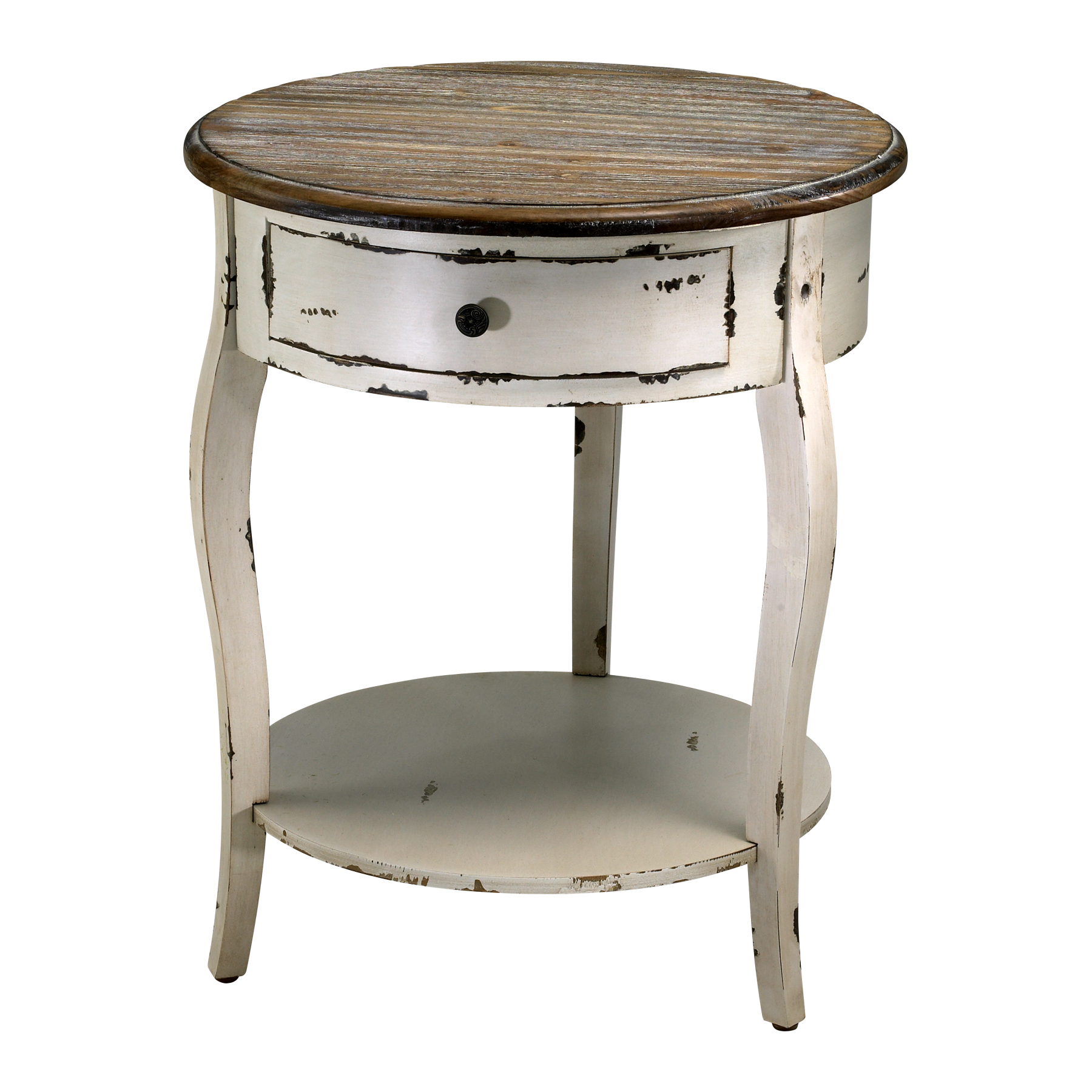 Wood round accent side table french country distressed for White end table