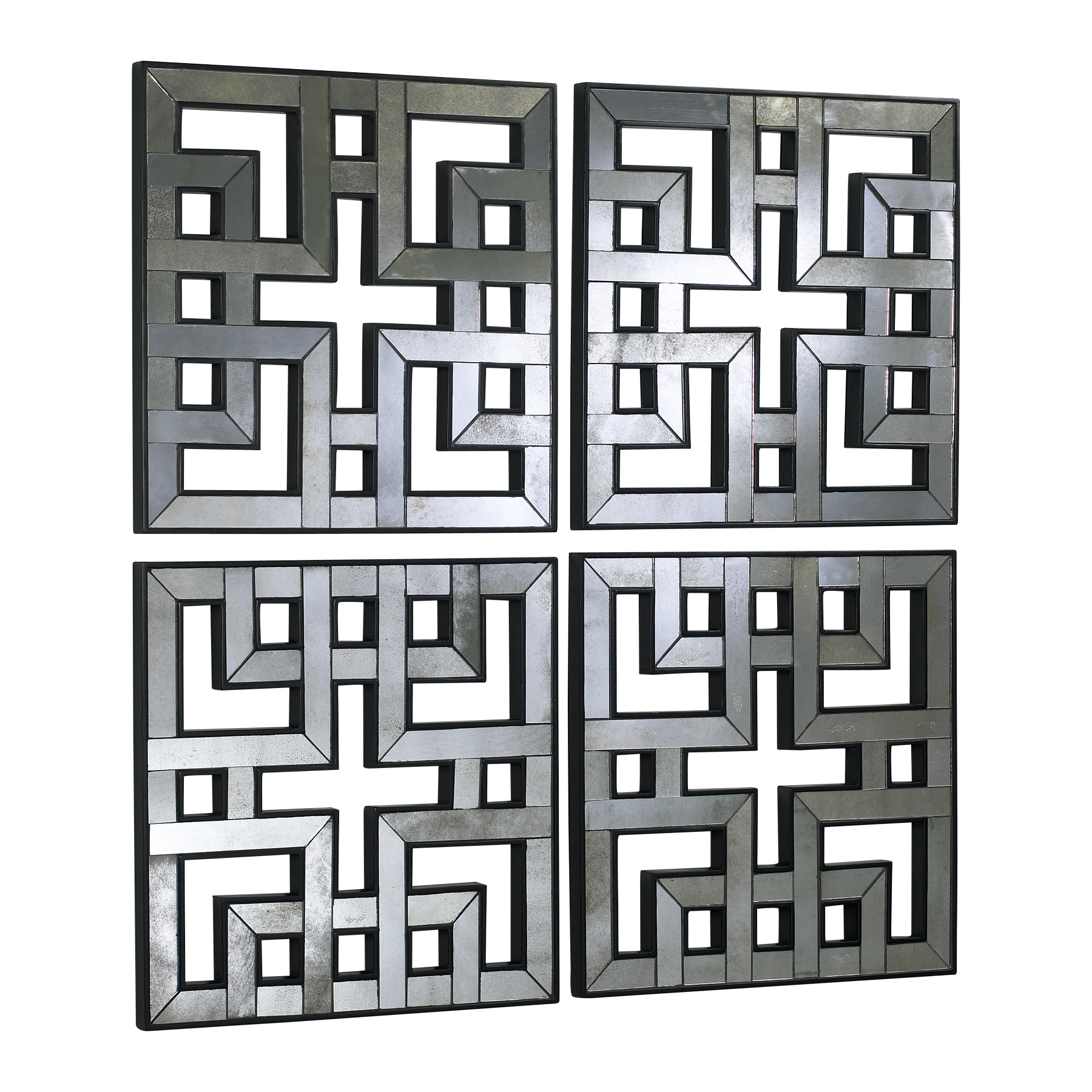 Four Fretwork Wall Mirrors Asian Style Antiqued Wood Frame