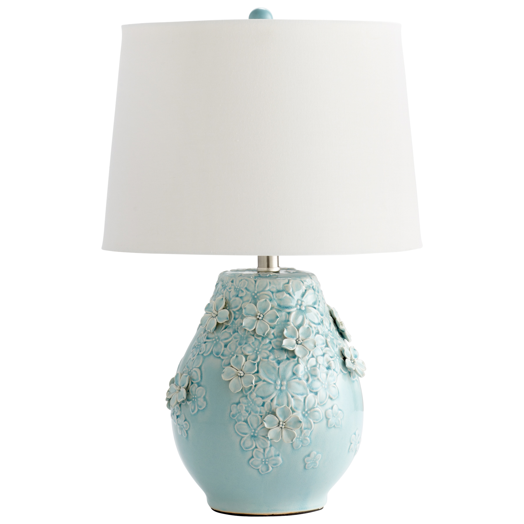 Nightstand Table Lamp Ceramic Flowers Light Blue Glaze 190808022097