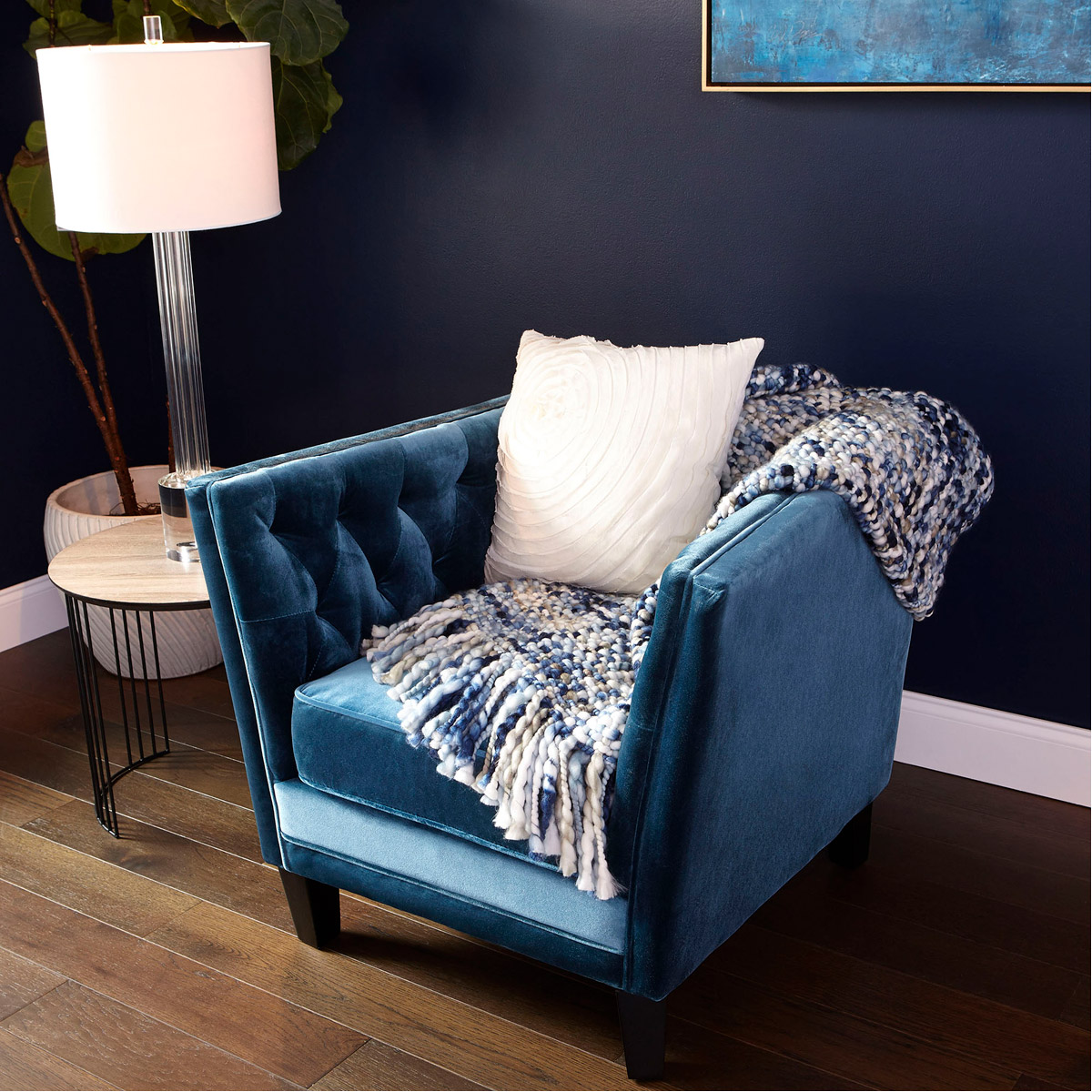 Details About Tufted Blue Velvet Comfy Chair Mid Century Modern