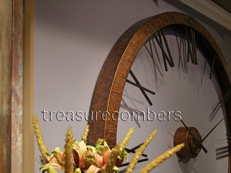 Foot Hammered Copper Wall Clock Modern Mid