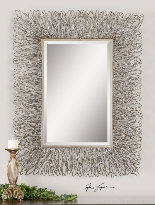 "Contemporary Silver Wire Metal Wall Mirror Large 56"" Modern Decor ..."