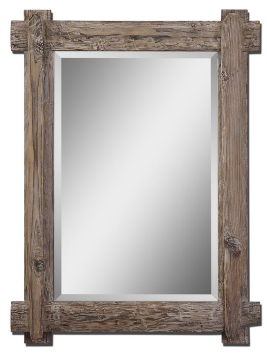 Rustic Wood Beveled Vanity Wall Mirror 39 Country