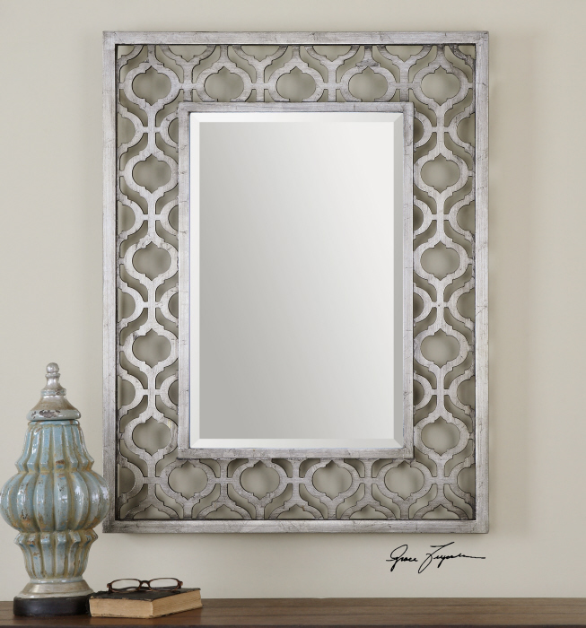 """Details about Decorative Antiqued Silver Leaf with Black Wall Mirror Large  40"""" Vanity"""