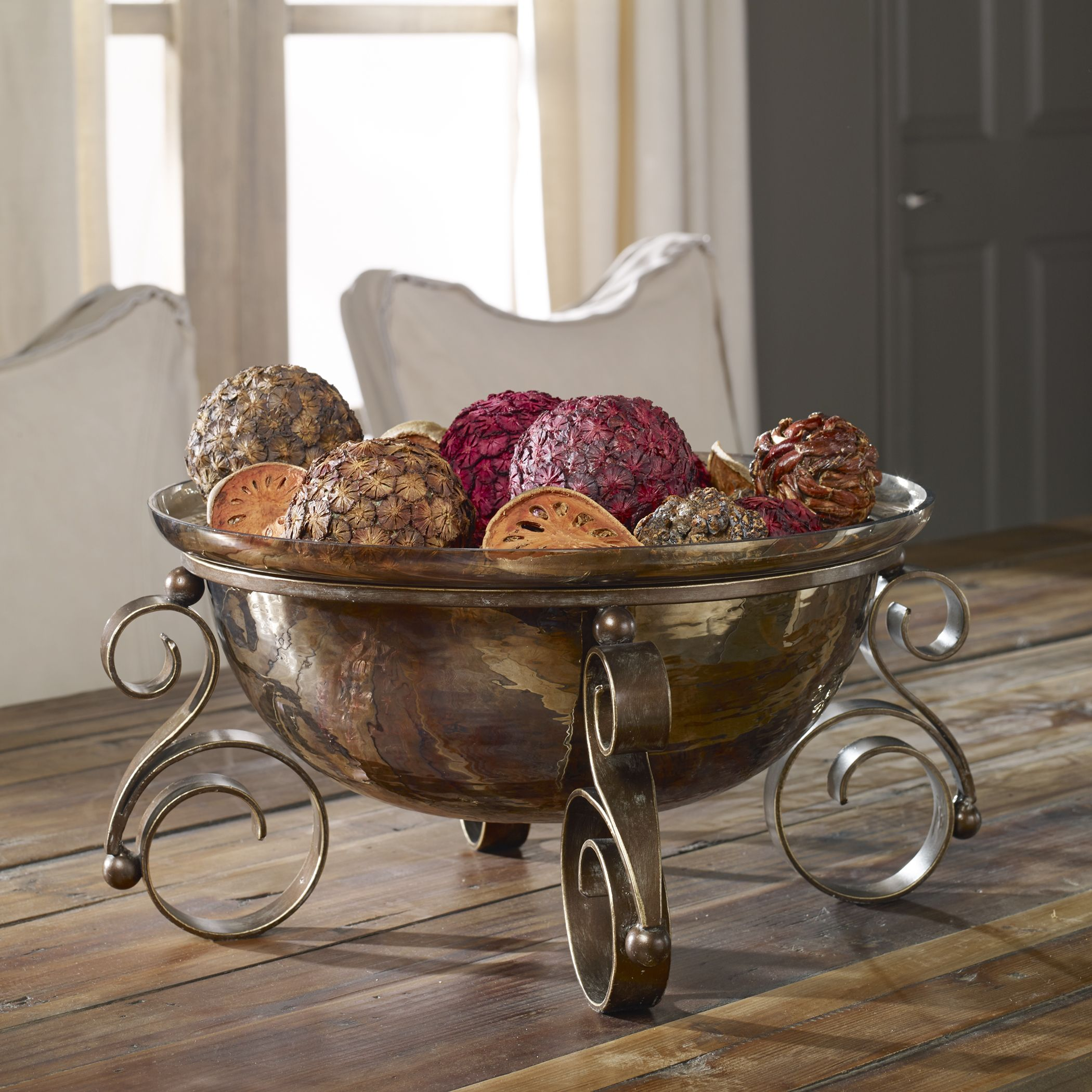 Details About Tuscan Decor Scrolled Iron Glass Fruit Bowl Centerpiece Decorative Old World