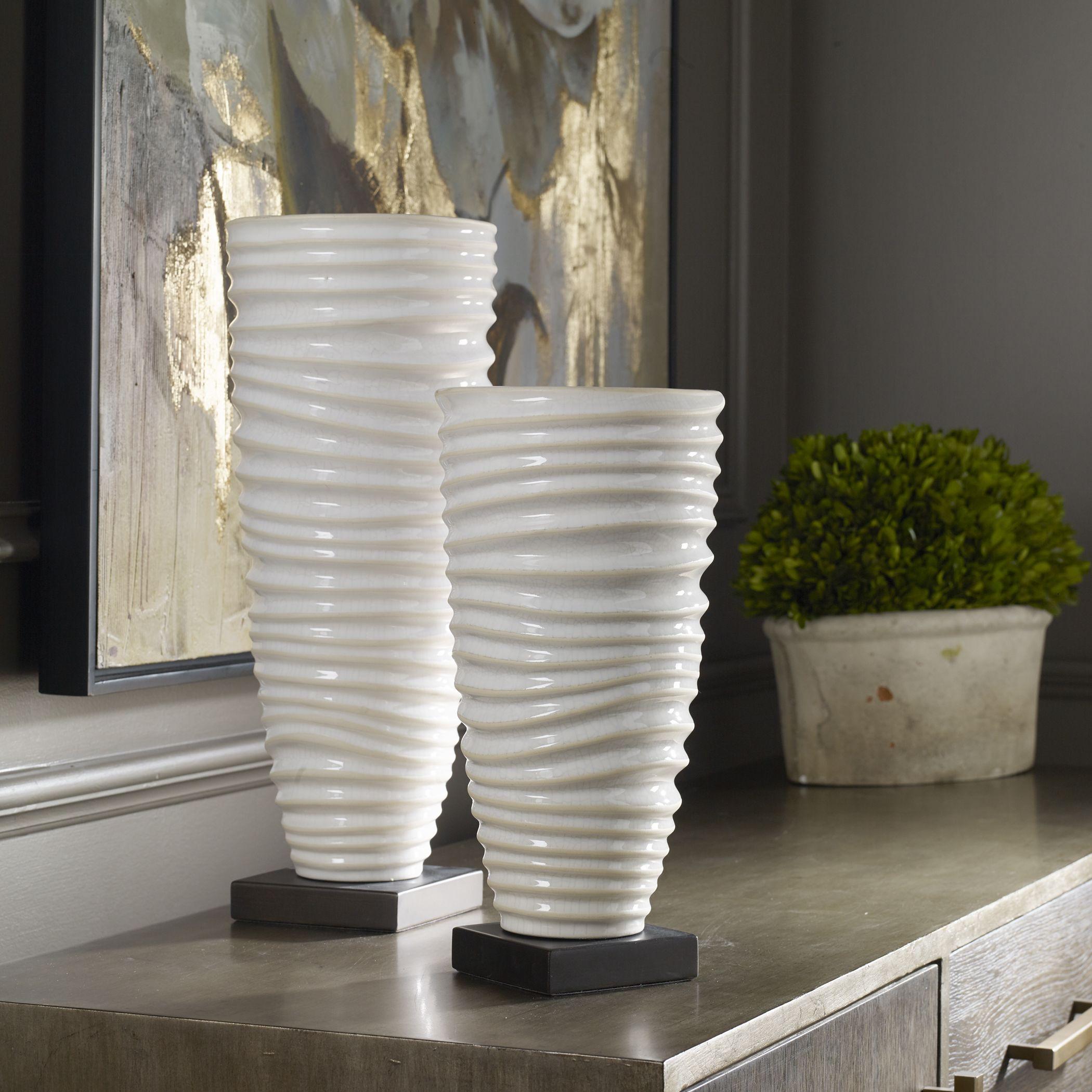 2 Decorative Tall Cylinder Vases Modern Centerpiece Flower Decor Floor Accent Ebay