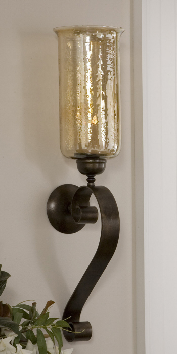 large candle wall sconces Tuscan Scrolled Bronze Metal Amber Glass Candle Wall Sconce Large  large candle wall sconces