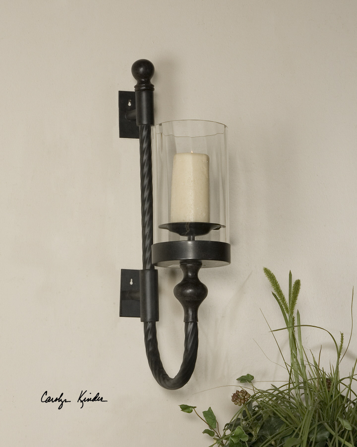 Details About Aged Black Metal Tuscan Twist Candle Holder Wall Sconce Large 27 Farmhouse Chic
