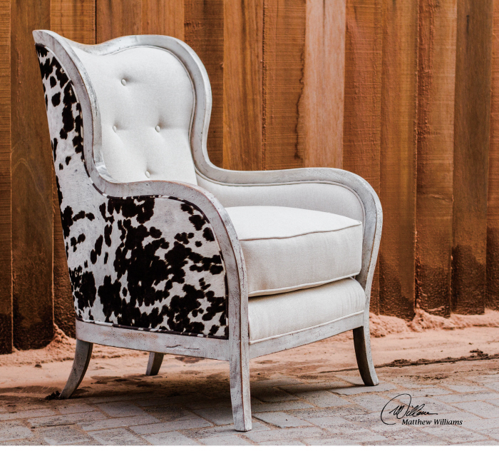 Brilliant Details About Curvy High Back White Arm Chair Cow Hide Print Gmtry Best Dining Table And Chair Ideas Images Gmtryco