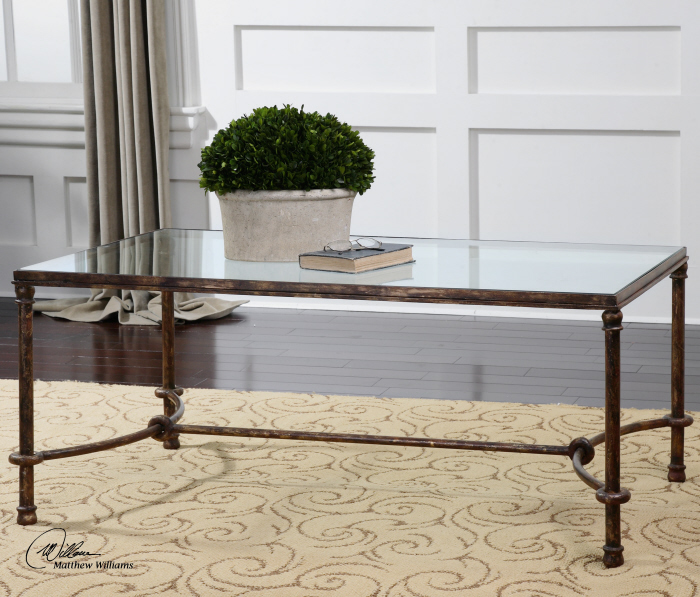 Transitional Rustic Bronze Iron Clear Glass Coffee Table 759526412650 Ebay