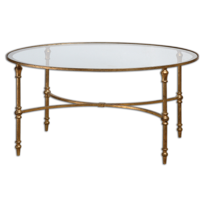Graceful Oval Gold Leaf Forged Iron U0026 Glass Cocktail Coffee Table Horchow  759526412704 | EBay