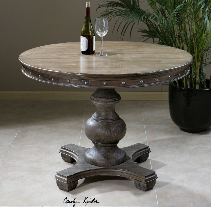 Round Weathered Wood Pedestal Entry Dining Table EBay - Round pedestal dining table gray