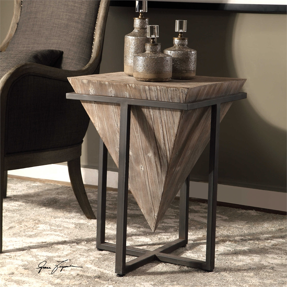 - Inverted Pyramid Aged Wood & Iron Side Accent End Table Modern