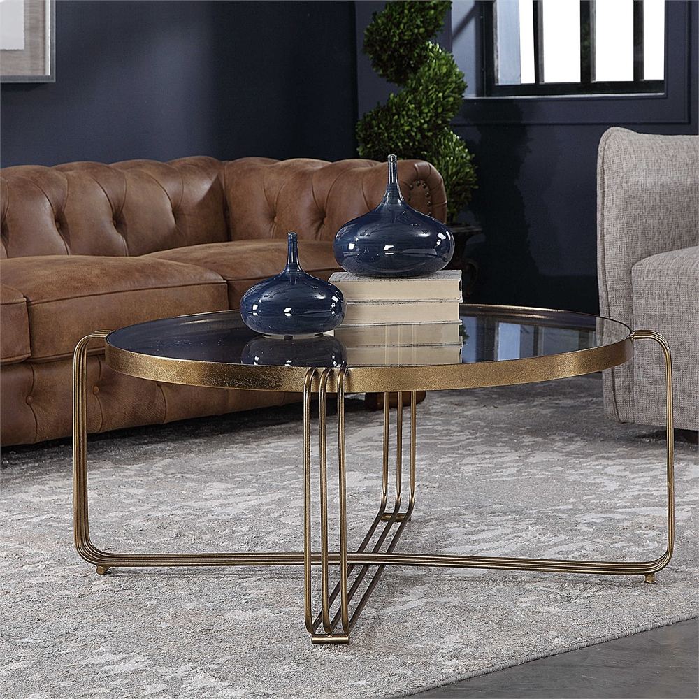 Contemporary Round Gold Bronze Iron Glass Cocktail Coffee Table