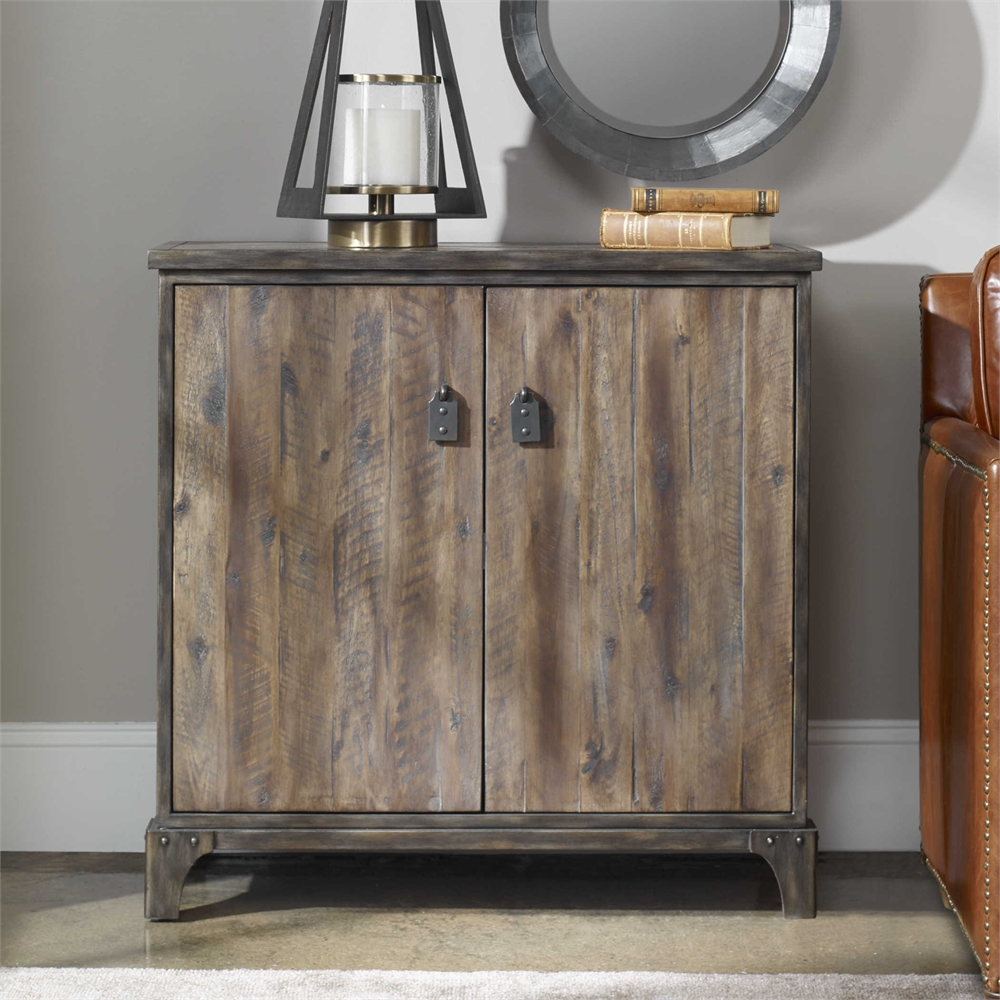 Rustic Wood Amp Metal Casual Accent 2 Door Cabinet Lodge