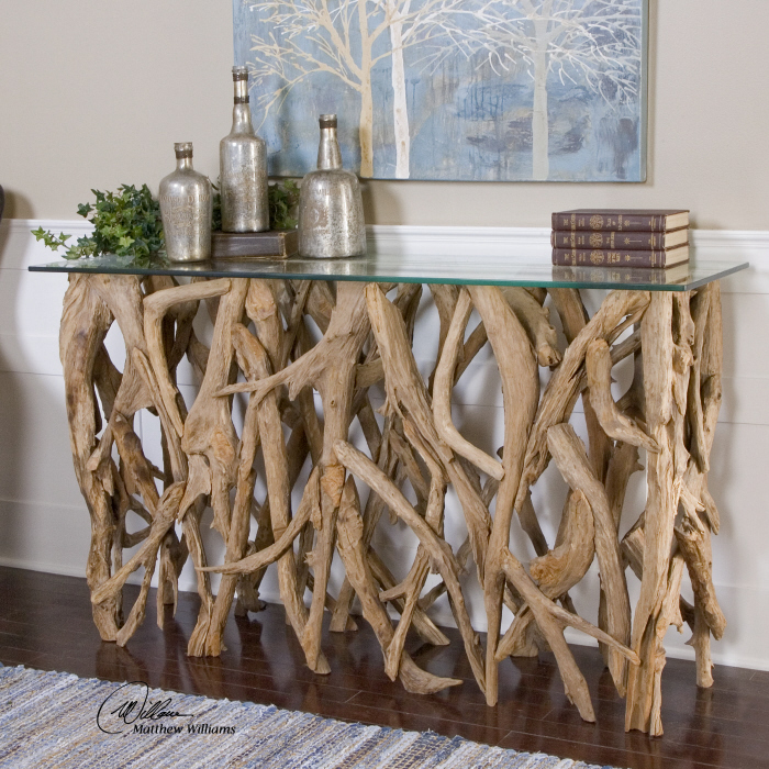 Natural Teak Wood Console Table Glass Top Coastal Modern Beach House