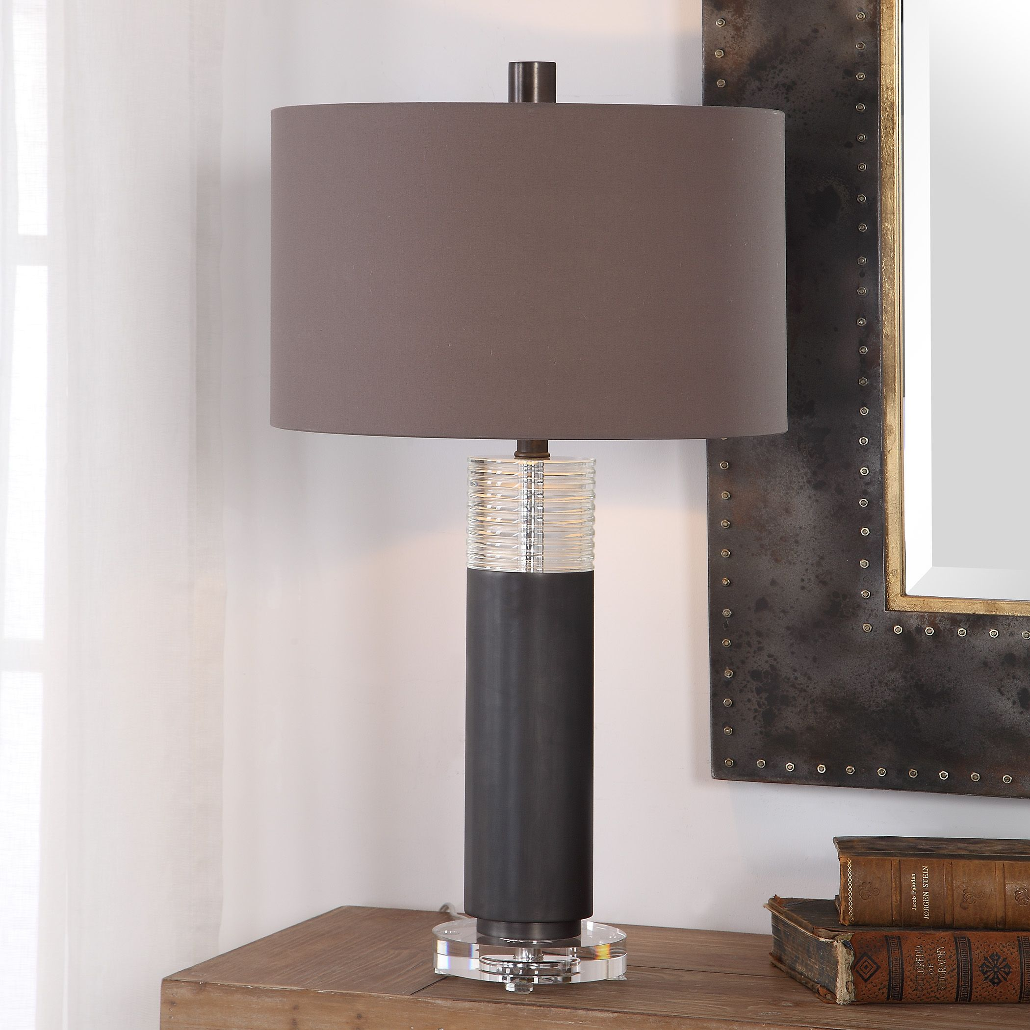Details about Contemporary Metal & Glass Table Lamp Living Room Bedroom  Dining Lighting Modern